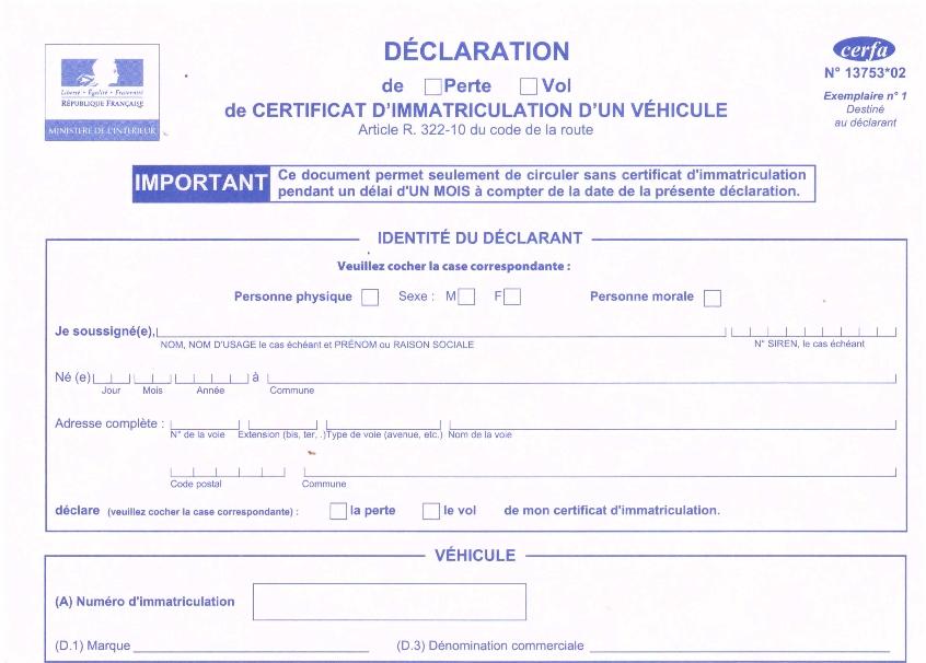 Document A Telecharger Pour Carte Grise